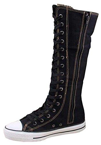 Leinwand Schuhe Sportschuhe Damen Stiefel Schwarz