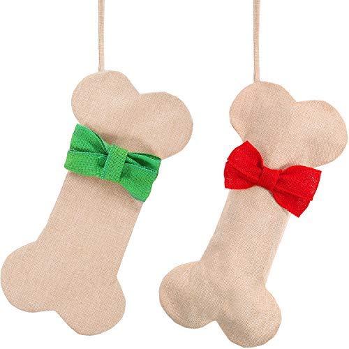 Boao 2 Stück Weihnachten Hängende Strumpf Knochenform Strumpf Geschenk Taschen mit Krawatte für Weihnachtsbaum Ornament