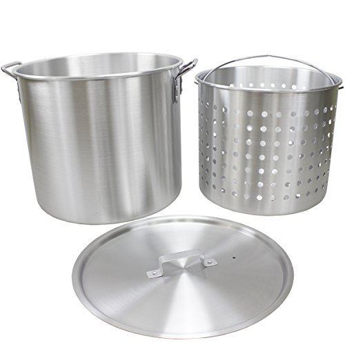 Chard 60 quart Aluminum Stock Pot with Basket and Lid, Large, Silver by Chard 60 Quart Stock Pot