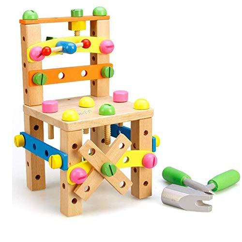 CLX Kinderspielzeug Demontage Stuhl Spielzeug Nuss Demontage Kombination 2-3-6-7 Jahre Alt Holzklötze Baby Hands-on Puzzle,Beige