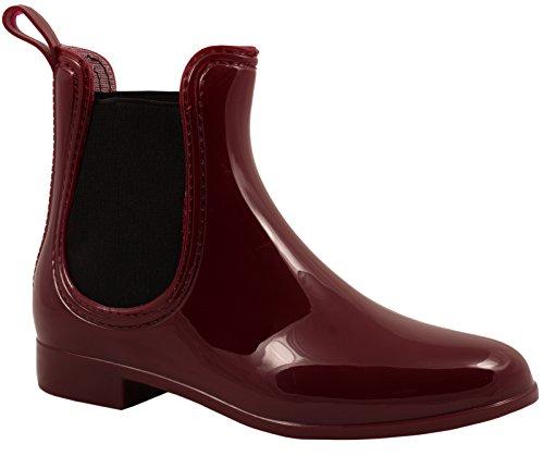 Elara Damen Gummistiefel   Bequeme Lack Stiefeletten   Chelsea Boots Rot