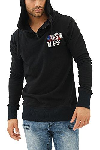 trueprodigy Casual Herren Marken Sweatshirt mit Aufdruck, Oberteil cool und stylisch mit Kapuze (Langarm & Slim Fit), Hoodie für Männer in Farbe: Schwarz 2582103-2999-S, Größe:L, Farben:Schwarz