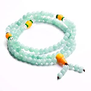 Qiyun Jade priere Mala perle de chapelet bouddhiste Collier Bracelet extensible Bleu 6mm