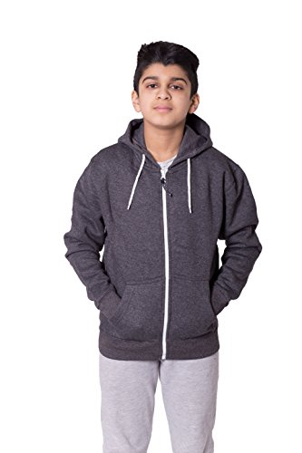Kids Boys Girls Plain Fleece Hoodie Full length Sleeve Sweatshirt Top Age 13 Years Charcoal