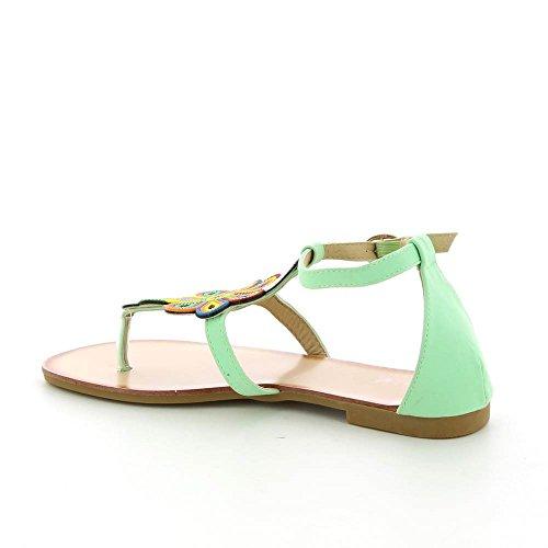 Sandales plates a fleurs multicolores Vert