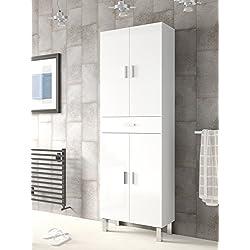 Mueble de baño o aseo con dos puertas superiores e inferiores separadas por un cajón color blanco brillo182x60x29cm