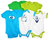 Baby Collection - 5er-Pack Baby Jungen Bodys Kurzarm, Monster, 80 (12M)