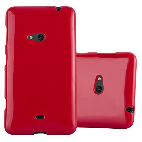 Cadorabo Hülle für Nokia Lumia 625 - Hülle in Jelly ROT - Handyhülle aus TPU Silikon im Jelly Design - Silikonhülle Schutzhülle Ultra Slim Soft Back Cover Case Bumper