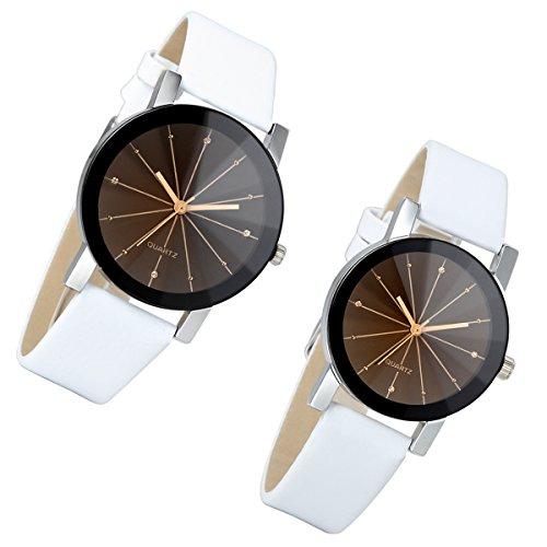 Lancardo 2pcs Herren Damen Freundschafts Armbanduhr, Casual Analog Quarz Zeitloses Design klassisch Uhr für Lieben Valentinstag Paar Paare Geschenk, Leder Armband, weiss