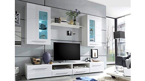 Möbel Akut Wohnwand Enrique 2 Wohnzimmer Anbauwand Front weiß hochglanz 2 Hängevitrinen - 2