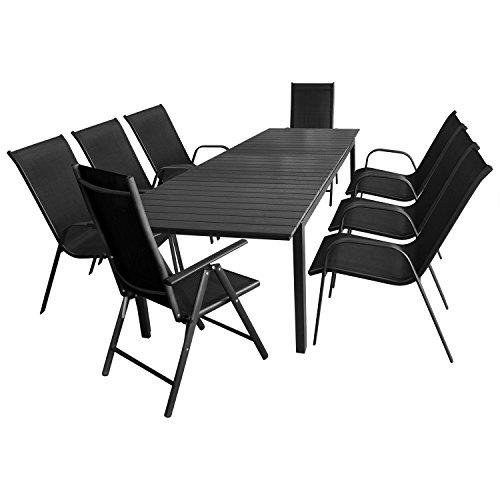 9tlg. Sitzgarnitur Sitzgruppe Gartengarnitur Gartenmöbel Terrassenmöbel Set Ausziehtisch Polywood 280/220x95cm + 6x Stapelstuhl + 2x Hochlehner, Lehne 7-fach verstellbar