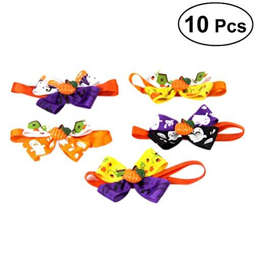 UKCOCO 10 Stück Halloween Halsband niedlich für Hunde und Katzen, Halsband Schmetterling, verstellbar, Welpen, Pflegezubehör für Haustiere -