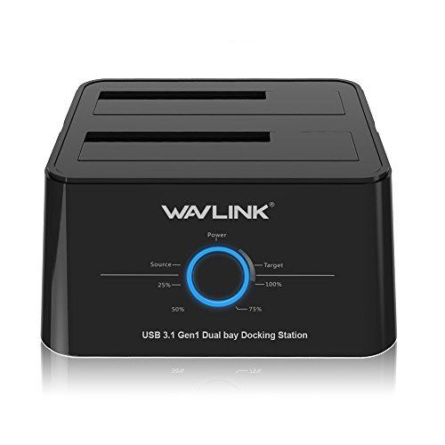 A zu USB3.1 USB C Externe Festplatten Docking Station für 2,5 oder 3,5-Zoll-HDD, SSD mit Festplatten Kopierer/Klone-Funktion- Schwarz ()