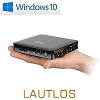 Mini PC - lautlose CSL Narrow Box 4K 4GB / Win 10 schwarz - Silent-PC mit Intel QuadCore CPU 1920MHz, 32GB SSD, 4GB DDR3-RAM, Intel HD, WLAN, USB 3.1, HDMI, SD, Bluetooth, Windows 10