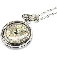 1893Mappa del mondo–Collana vintage collana orologio da tasca, migliore regalo di natale