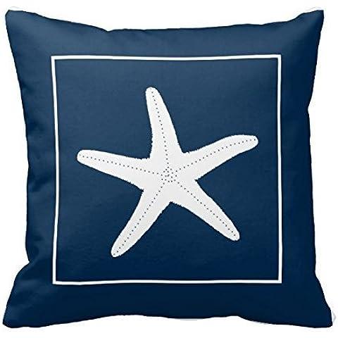 Color blanco estrella de mar en color azul marino manta almohada decorativa almohada manta almohada Funda para cojín diseño de flores diseño funda para cojín funda de almohada de colección por