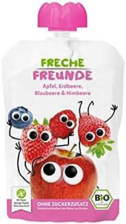 FRECHE FREUNDE Bio Quetschie Apfel, Erdbeere, Blaubeere & Himbeere, Fruchtmus im Quetschbeutel für Babys a