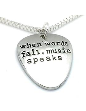 Anhänger für Halskette, Gitarren-Plektrum mit Zitat: