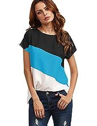 Camisas Mujer Blusa Casual de Manga Corta de Gasa de Color Block Para Mujer Cuello EN V Chaleco Blusa Blusas de Túnica Camiseta Mezcla de Algodón ♡Xinantime♡