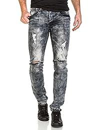 Sixth June - Jeans gris destroy délavé homme