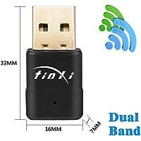tinxi® 600Mbps 5GHz Adattatore WiFi Doppia banda supporta 2.4GHz e 5GHz WLAN Rete.