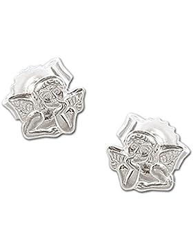 CLEVER SCHMUCK Silberne kleine Ohrstecker Mini Engel klassisch 5 x 4 mm glänzend STERLING SILBER 925