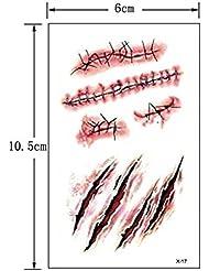 Tatouage temporaire déguisement Halloween cicatrices et griffures