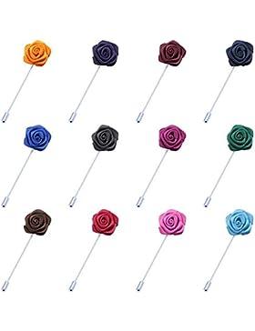 SAVORI 12 Revers Ansteckblume Handgefertigt Brosche Blume im Knopfloch Für Anzug