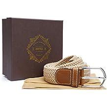 """Tejido elástico cinturón–Parte de la colección """"Martell (Premium Collection) incluye bolsa de cinturón protectora y caja de regalo de presentación, hombre, crema, 28-36"""