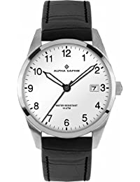 Alpha Saphir Herren-Armbanduhr XL Analog Quarz Leder 379B