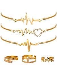 FENICAL 6 Unids Pulseras de Anillos de Las Mujeres Conjunto de Amor en forma de Corazón