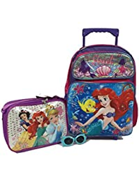 "Disney Favorite Princess Ariel The Little Mermaid Large 16"" Roller Backpack Combo Set"