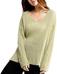 JackenLOVE Otoño y Invierno Mujeres Tejer Jerséis Casual Sweater Prendas de Punto Jumpers Remata Blusa Moda
