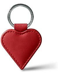 Lucrin - Llavero en forma de corazón - Plata - Rojo - Cuero Liso