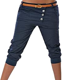91908ce9919ff ORANDESIGNE Mujer Pantalones Cortos Capri 3 4 Pantalón Corto Boyfriend  Chino Pantalones Color Sólido