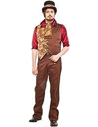 """Braun Herren Steampunk/Victorian Stil Hohe Taille Hose. Taille 42-52 (S-XXXL) Innenbeinlänge 33"""" / 84cm"""