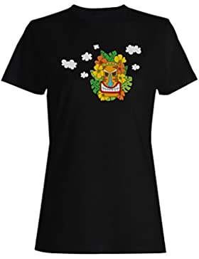 Tiki Mask Holiday Summer camiseta de las mujeres o319f