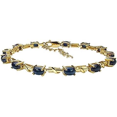 Goldancé - Bracciale da Donna argento sterling 925 placcati in oro vero Zaffiro blu - B201BSAPH_SGP