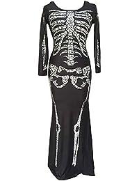 r-dessous Skelett Kleid lang Damen Kostüm schwarz Halloween Knochenkleid Tod Zombie Horror Karneval Fasching