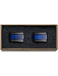 Valdero Men's Essentials Cufflinks in Box Blue Mother of Pearl Black