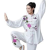 SCDXJ Tai Chi Ropa Mujer Transpirable Bordado Acogedor Chino Tradicional Kungfu Yoga Ropa,S