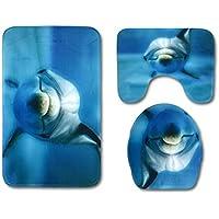 OUNONA 3Piezas Alfombrilla para bañera (Baños Alfombrilla contornos Karoline–Alfombrilla de Pedestal de Alfombra Anti de bacterias para Cocina presupuesto Wohnen (Dolphin)