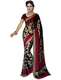 PRAMUKH STORE Women's Georgette Saree With Blouse Piece - Malika Black (Today Offer In Low Price Sale,Georgette...