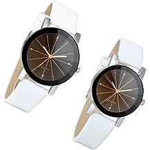 lancardo Reloj de pulsera para pareja Lovers con correa de piel artificial reloj para pareja esfera