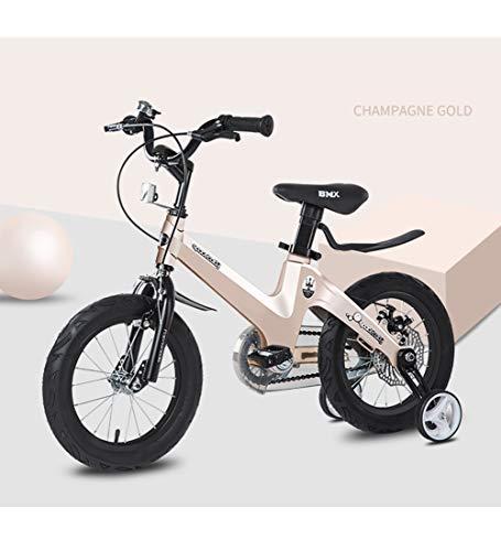 SXMXO Kinder Fahrrad mit Trainingsrädern Kinderfahrrad, Jungen- und Mädchenfahrrad für 3-6 Jahre Leichte Magnesiumlegierung Doppelscheibenbremse Kinderfahrrad 14 Zoll,Brown