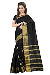 Bhuwal Fashion Womens Poly Cotton Saree (Black_Free Size)