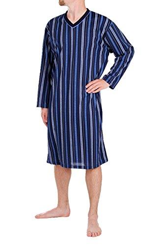 Herrennachthemd, langarm, 100% Baumwolle, L XL XXL XXXL Dunkelblau