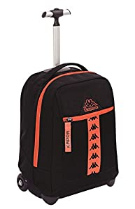BIG TROLLEY KAPPA - LOGO - 2in1 Wheeled Backpack with Disappearing Shoulder Straps - Black 31Lt by Seven