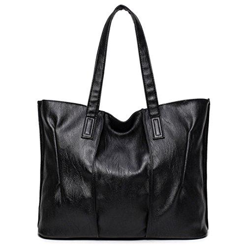 Grande Bolso Bolso mujer mujer mujer bolsos de cuero Bolsos grandes Bolsos con bandoleras Casual Bolso negro de 39cm.