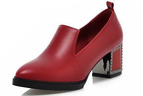 AllhqFashion Femme Couleur Unie Pu Cuir à Talon Correct Tire Pointu Chaussures Légeres Rouge